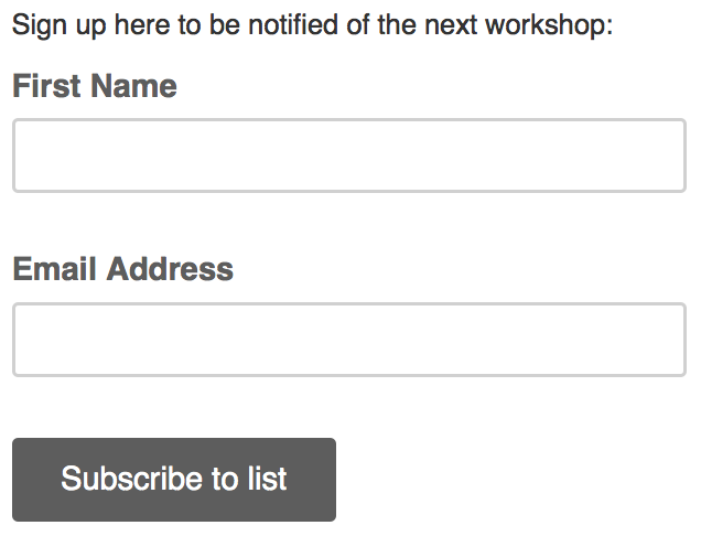 Sign up here to be notified of the next Build a WordPress Website workshop